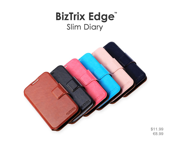 Standable wallet case in succinct design. Its ultra-thin profile keeps your phone thin and lightweight. Colors: Black, brown, navy blue, sky blue, rose red and pink. Materials: Premium PU leather and ultra-thin PC material.