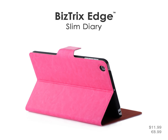 Standable wallet case in succinct design. Its ultra-thin profile keeps your iPad mini slim and lightweight. Colors: Black, brown, sky blue and rose red. Materials: Premium PU leather and ultra-thin PC material.