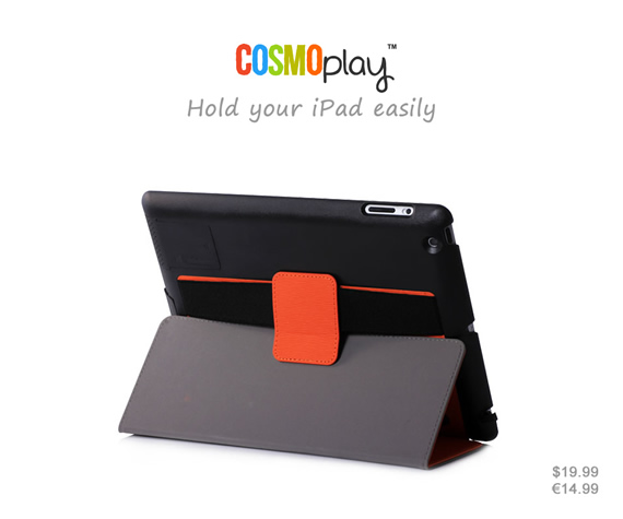 Standable Auto Wake Up/Sleep Smart Case with stripe handle for your easy holding of your iPad. Multi-functional design with sound enhancement function and port-covers for anti-dust protection. Colors: Black, orange, sky blue, light green and light grey. Materials: High quality PU leather with tree bark pattern and ultra-thin PC material.