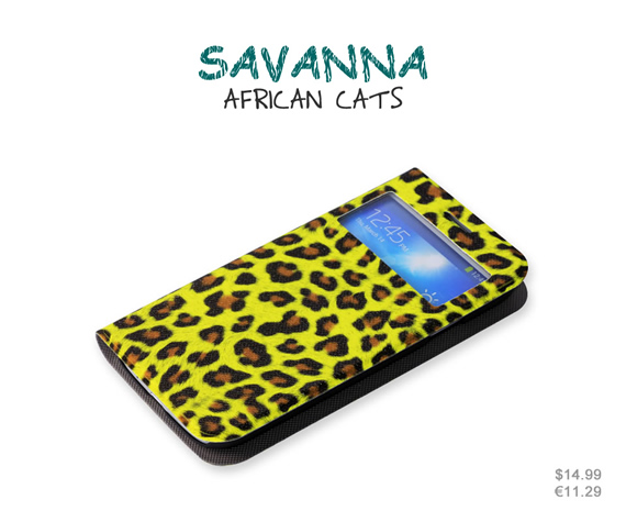 Standable wallet case with Smart View window. Coated with unique sparkling material, this African Cat print pattern case looks glamorous and fashionable. Colors: Pink, shocking yellow, shocking pink, earthy brown. Materials: High quality leather and ultra-thin PC material.