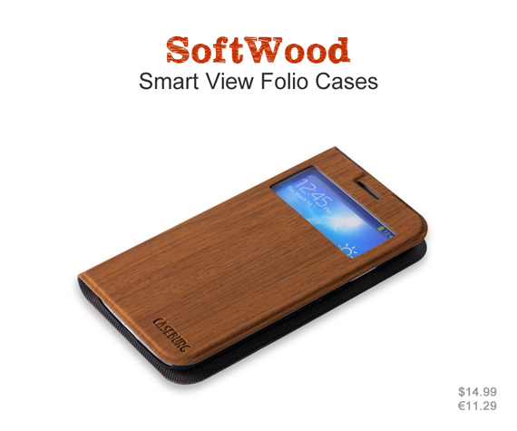 Standable wallet case with Smart View Window. The natural wood pattern keeps your phone in natural style. Colors: Maple, walnut and bloodwood. Materials: High quality leather and ultra-thin PC material.